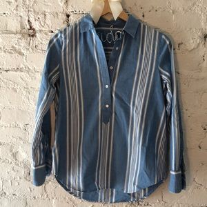 Madewell XS blue white striped button down long